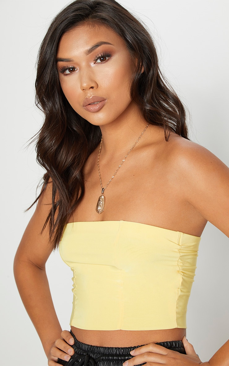 Yellow Slinky Bandeau Crop Top 5