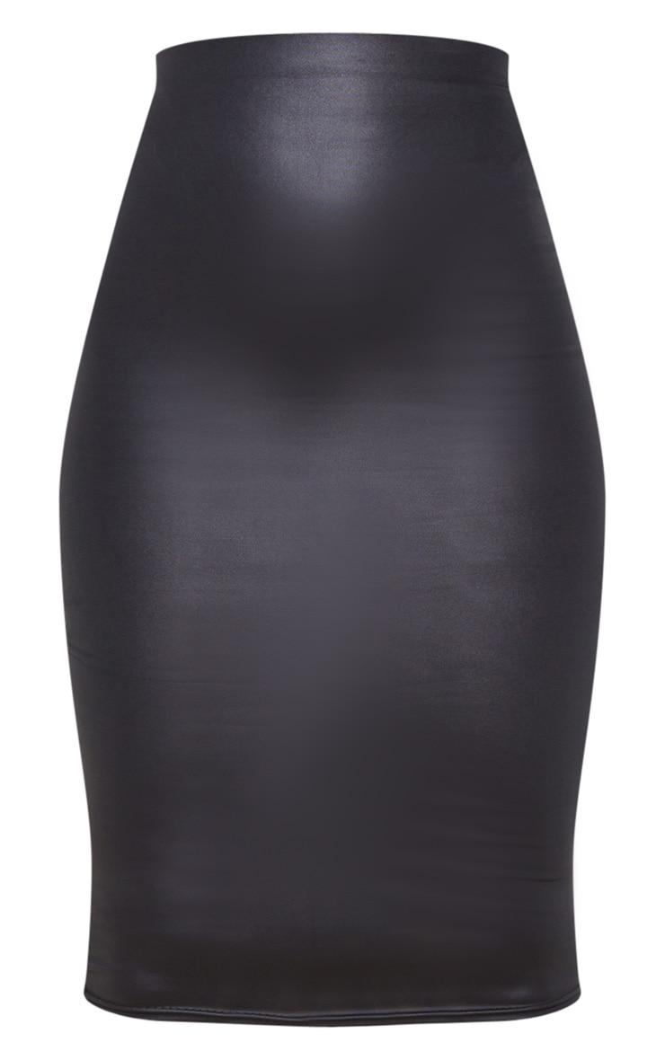Black Leather Look Midi Skirt 6