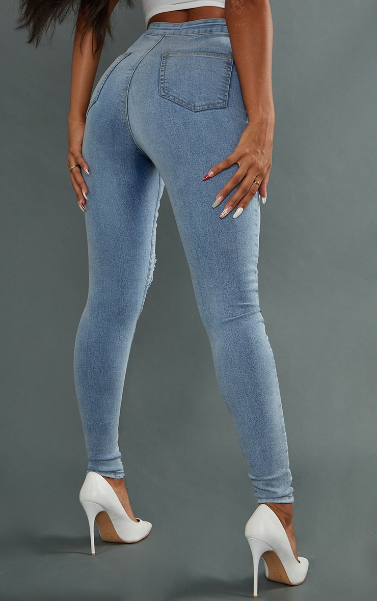 PRETTYLITTLETHING Vintage Wash Ripped Disco Skinny Jeans 3