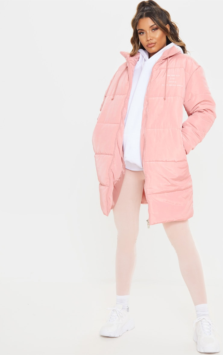 Peach Slogan Midi Oversized Puffer Coat 2