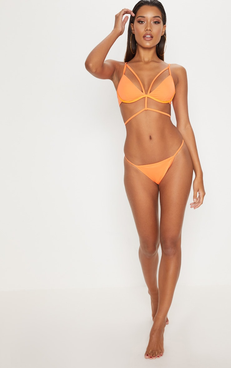 Orange Tanga Bikini Bottom 1