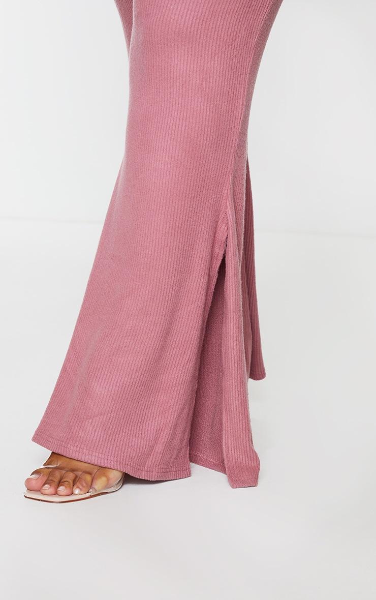 Plus Rose Brushed Rib Split Hem Trouser 4