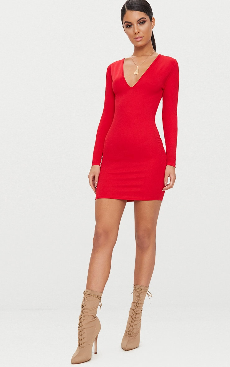 Basic Red Long Sleeve Plunge Bodycon Dress 4