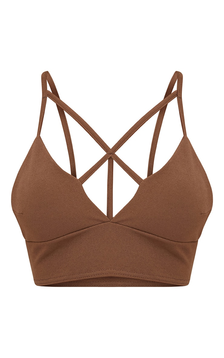 Chocolate Brown Strappy Front Crop Top 3