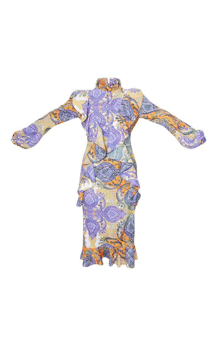 Multi Paisley Printed Frill High Neck Midi Dress 5