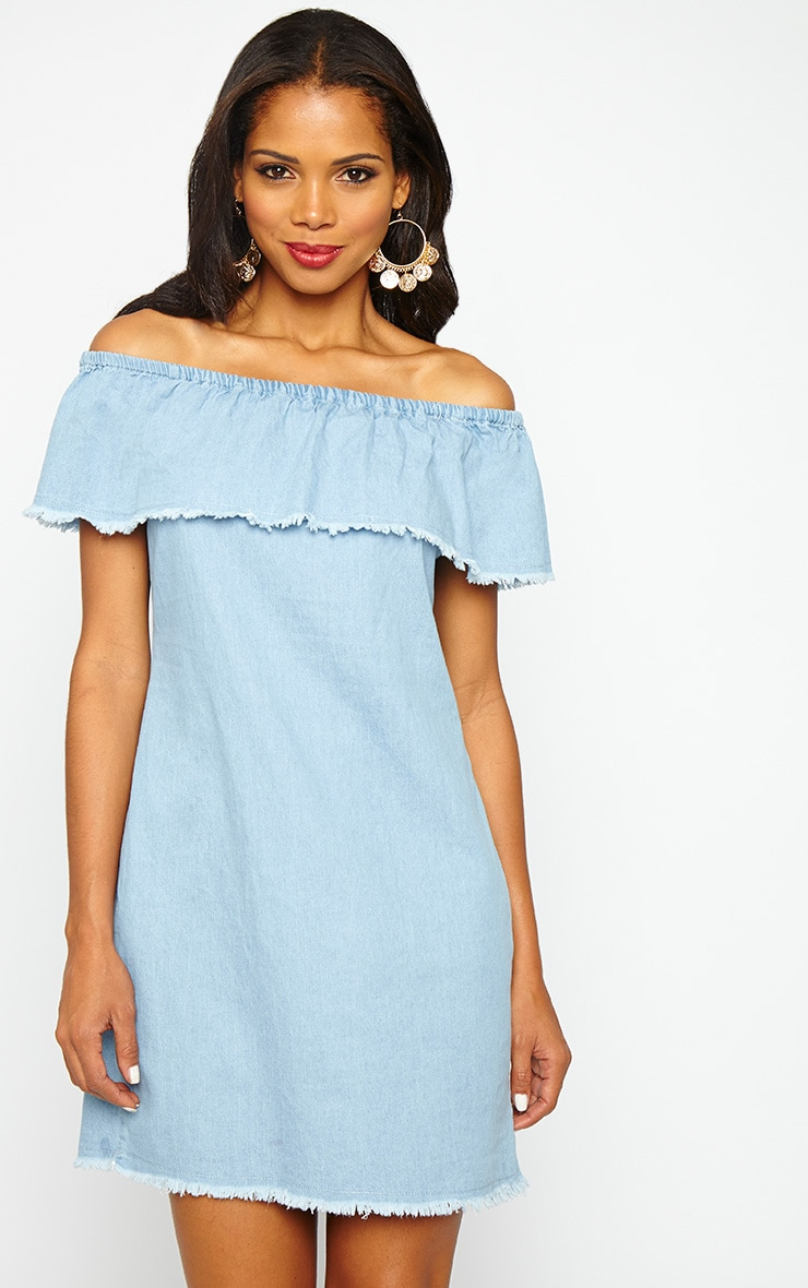 Eunice Blue Denim Bardot Dress 1