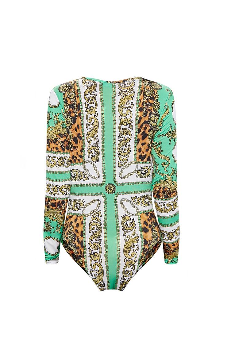 Green Scarf Printed Longsleeve Thong Bodysuit  4