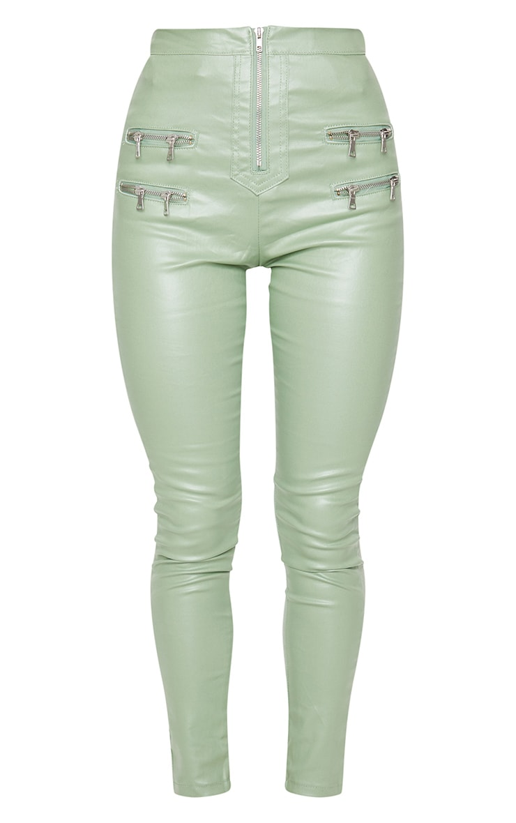 Sage Green Biker Detail Coated Skinny Jeans 5