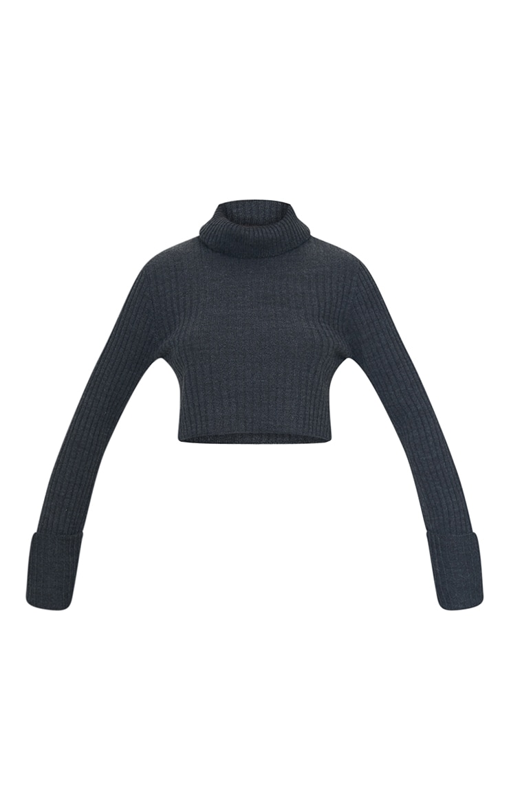 Charcoal Roll Neck Turn Back Sleeve Cropped Sweater 5