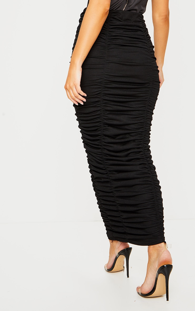 Black Ruched Maxi Skirt 3