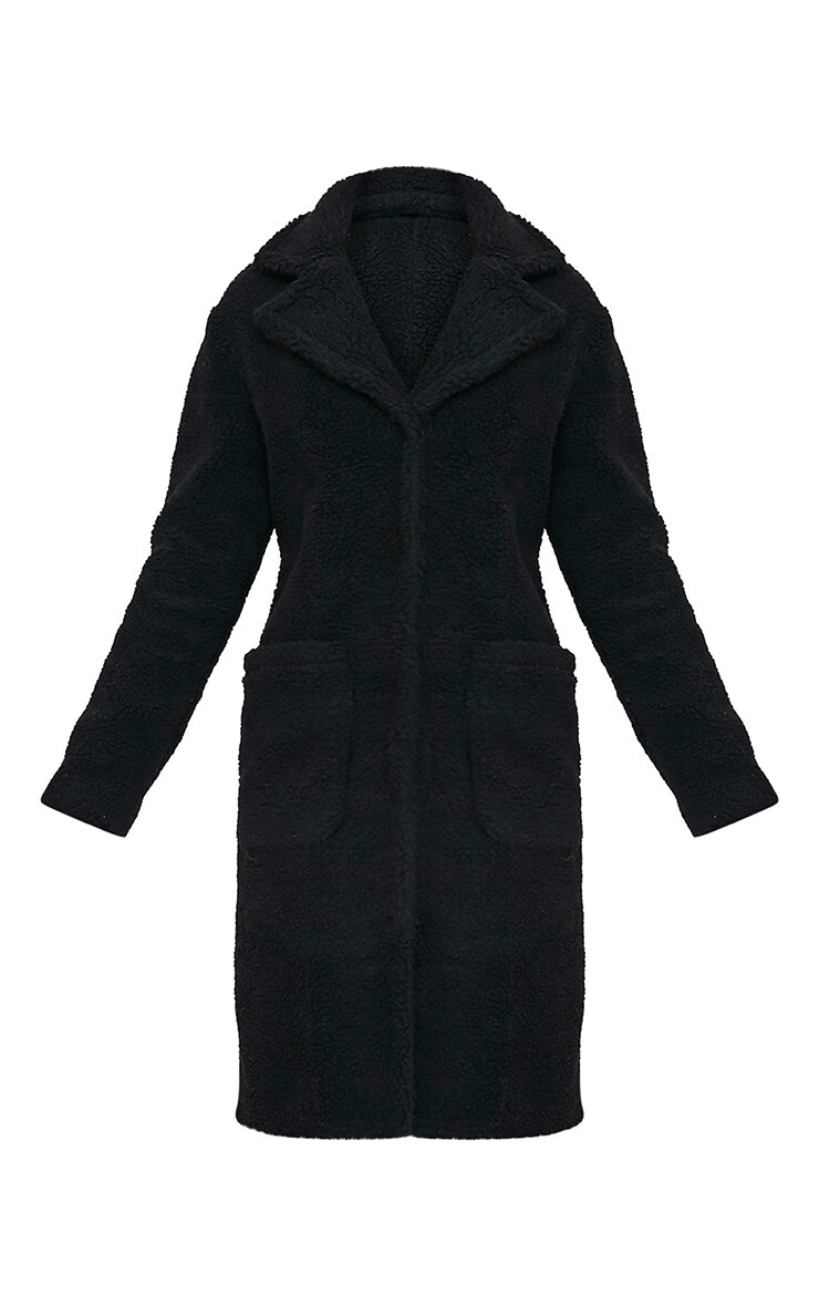Taibah Black Teddy Fur Longline Coat 3