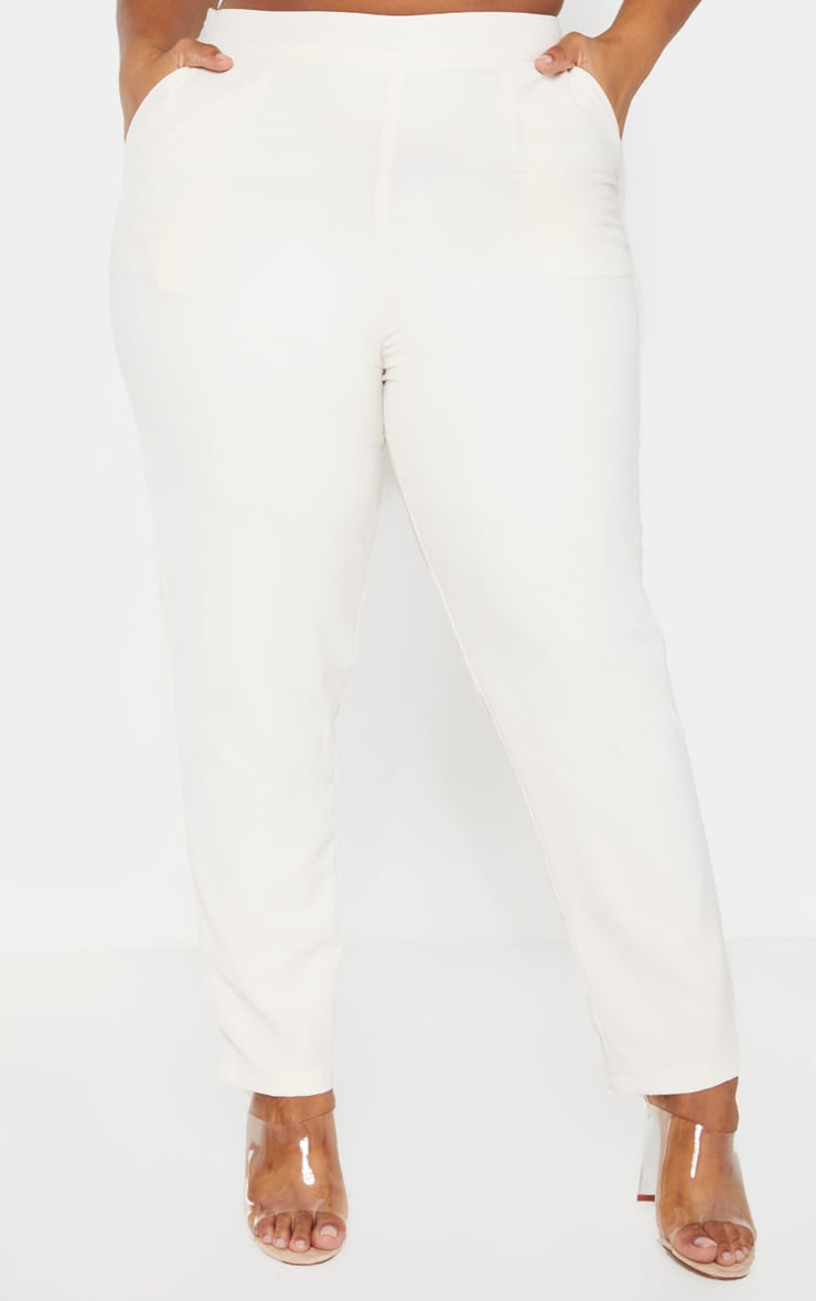 Plus Cream Tailored Pants 2