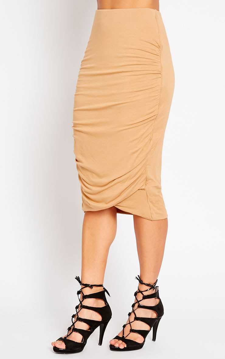 Asia Camel Jersey Ruched Midi Skirt 3