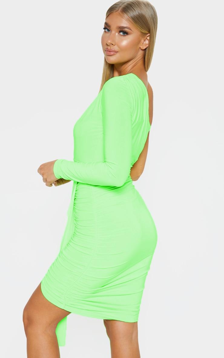 Neon Lime Slinky One Shoulder Drape Detail Bodycon Dress 2