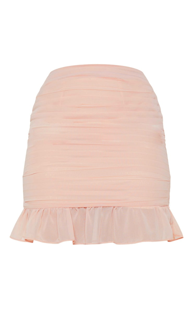 Dusty Pink Ruched Chiffon Mini Skirt 4