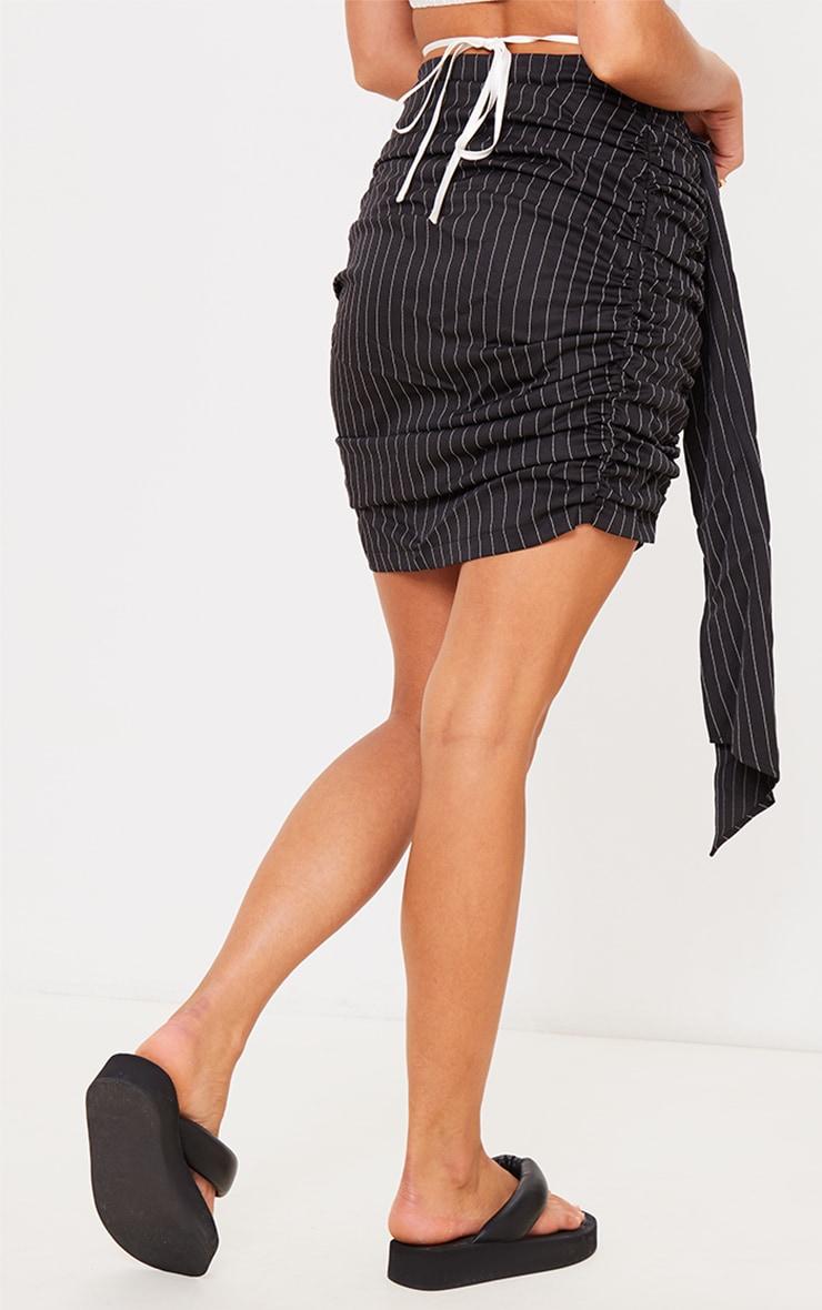 Black Stripe Ruched Drape Front Mini Skirt 3