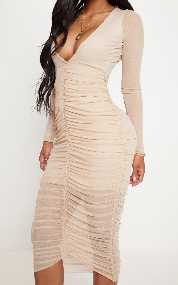 Shape Nude Ruched Mesh Longline Midi Dress 5