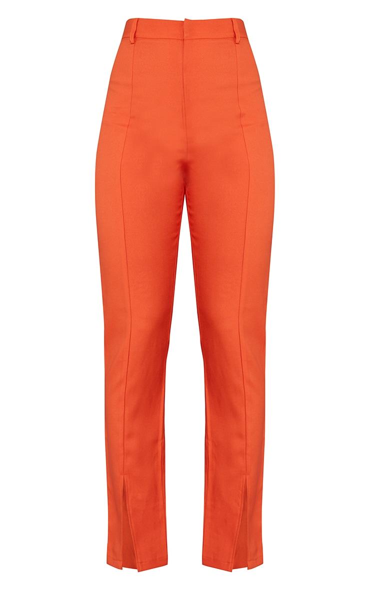 Orange High Waisted Straight Leg Split Hem Trousers 5