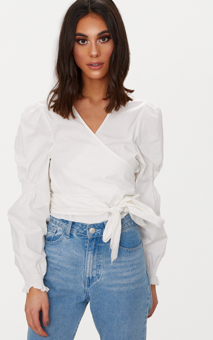 White Wrap Front Puff Shoulder Crop Shirt  1