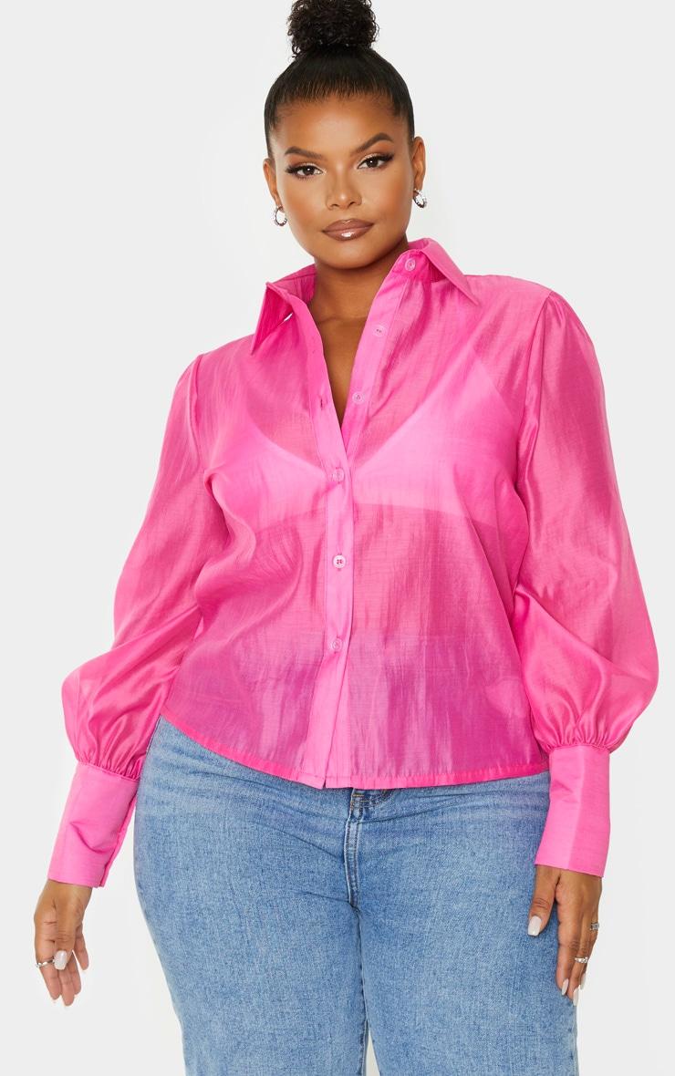 Plus Pink Sheer Woven Oversized Shirt 1