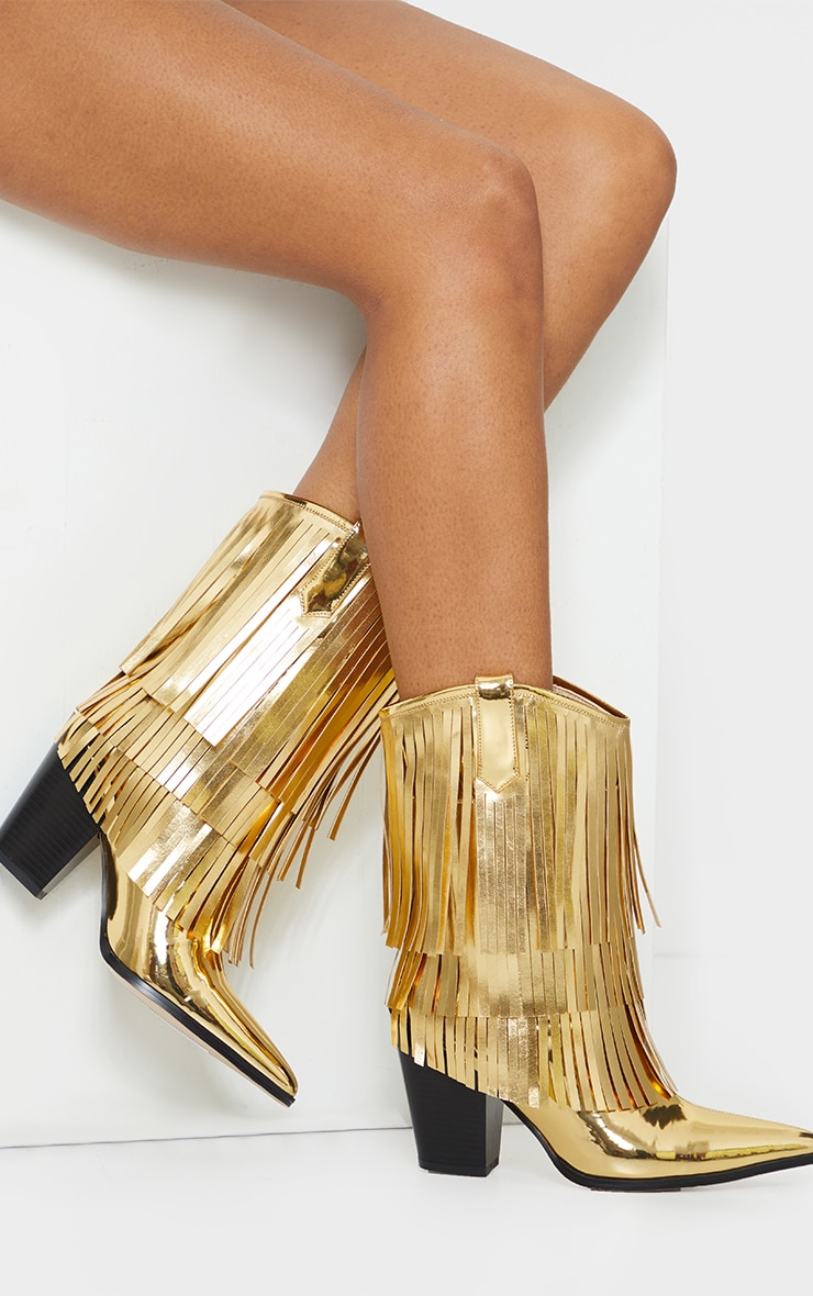 Gold Ankle Western Tassel Boots 1