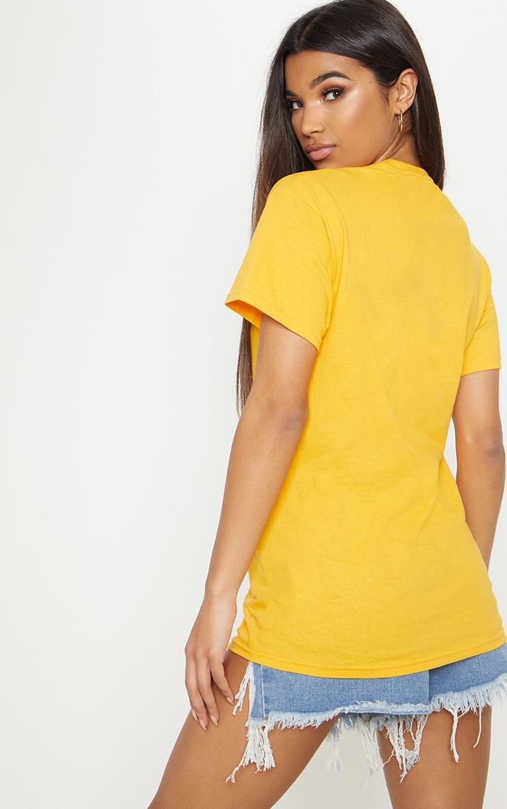 PRETTYLITTLETHING Mustard Slogan Oversized T Shirt 2