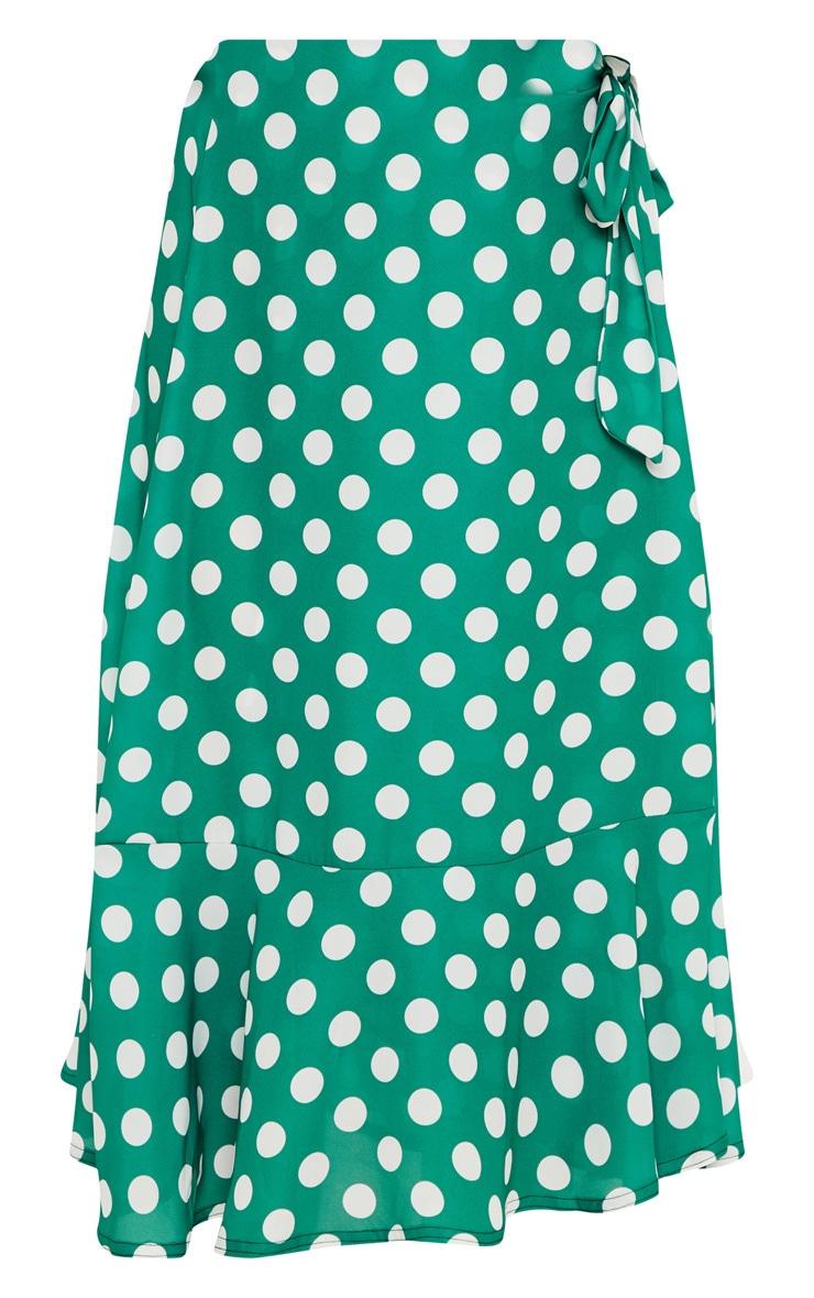 Emerald Green Polka Dot Frill Hem Tie Waist Midi Skirt 3