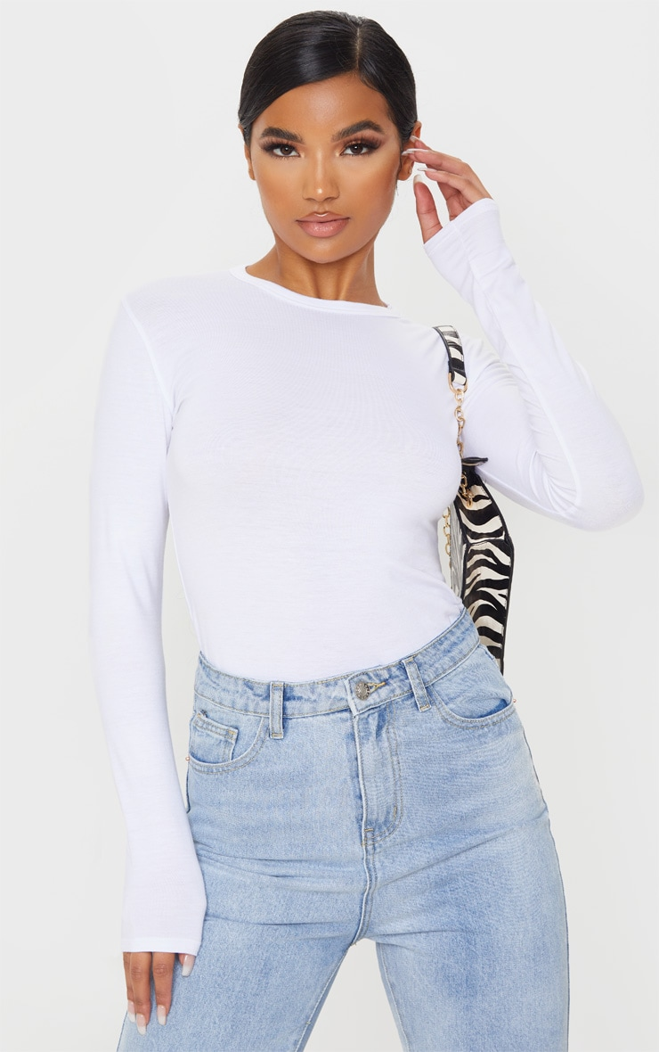 White Basic 2 Pack Long Sleeve Fitted T Shirt 2