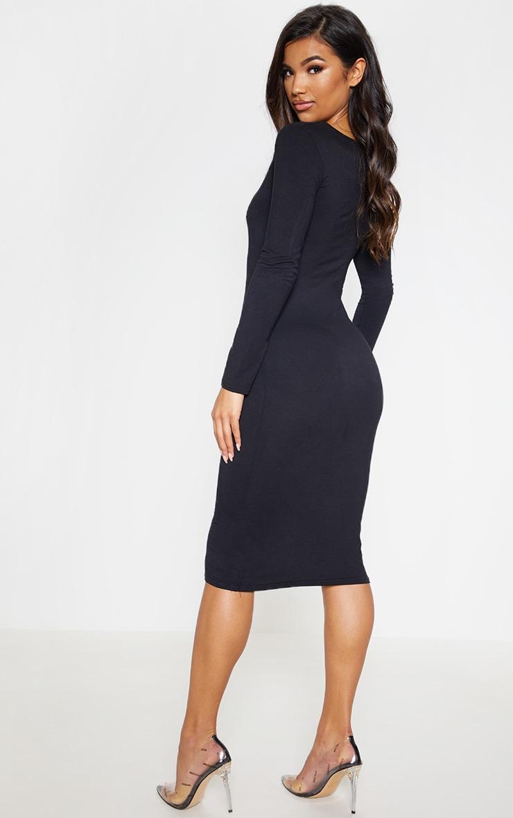 Black Jersey V Neck Long Sleeve Midi Dress 3
