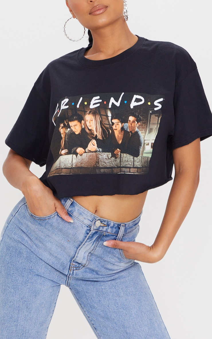 Black Printed Friends Crop T Shirt 4