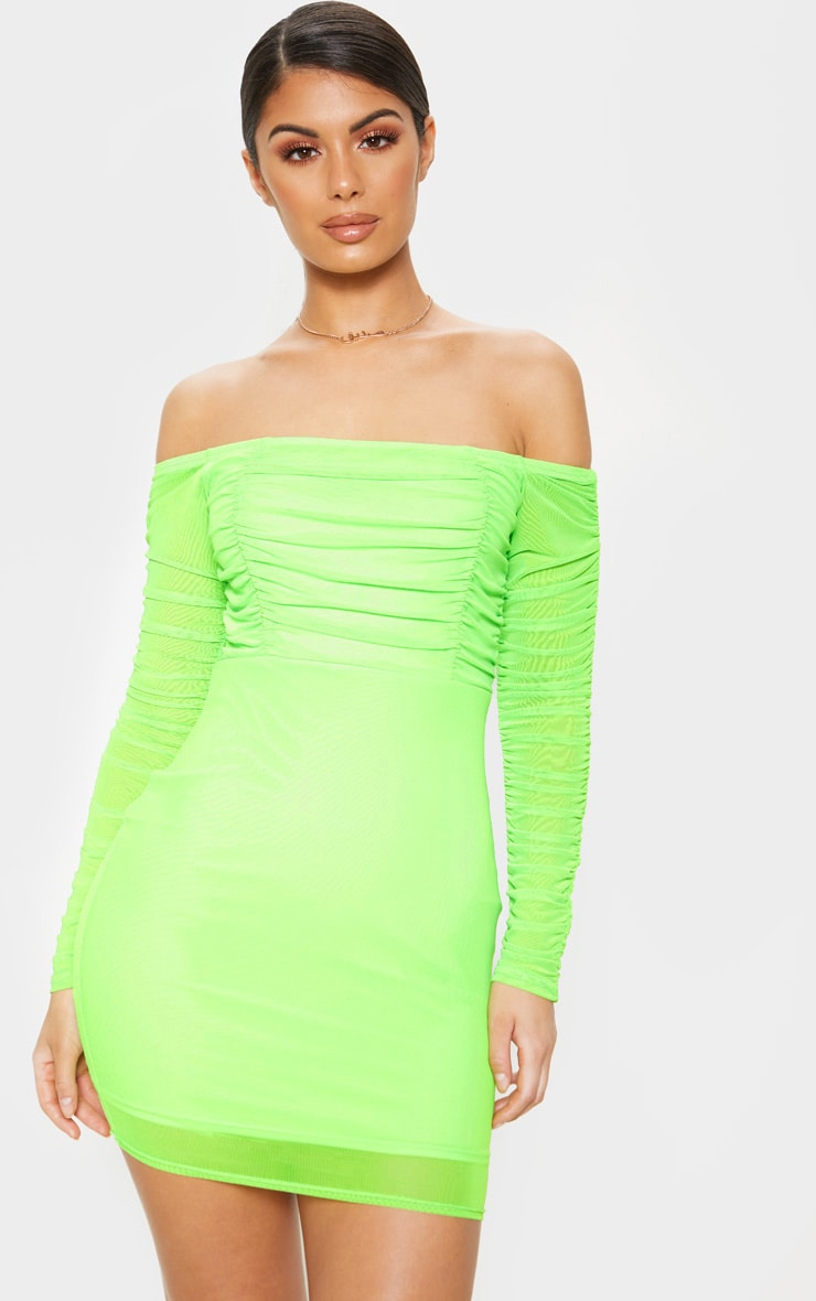 Lime Ruched Mesh Bardot Bodycon Dress 1