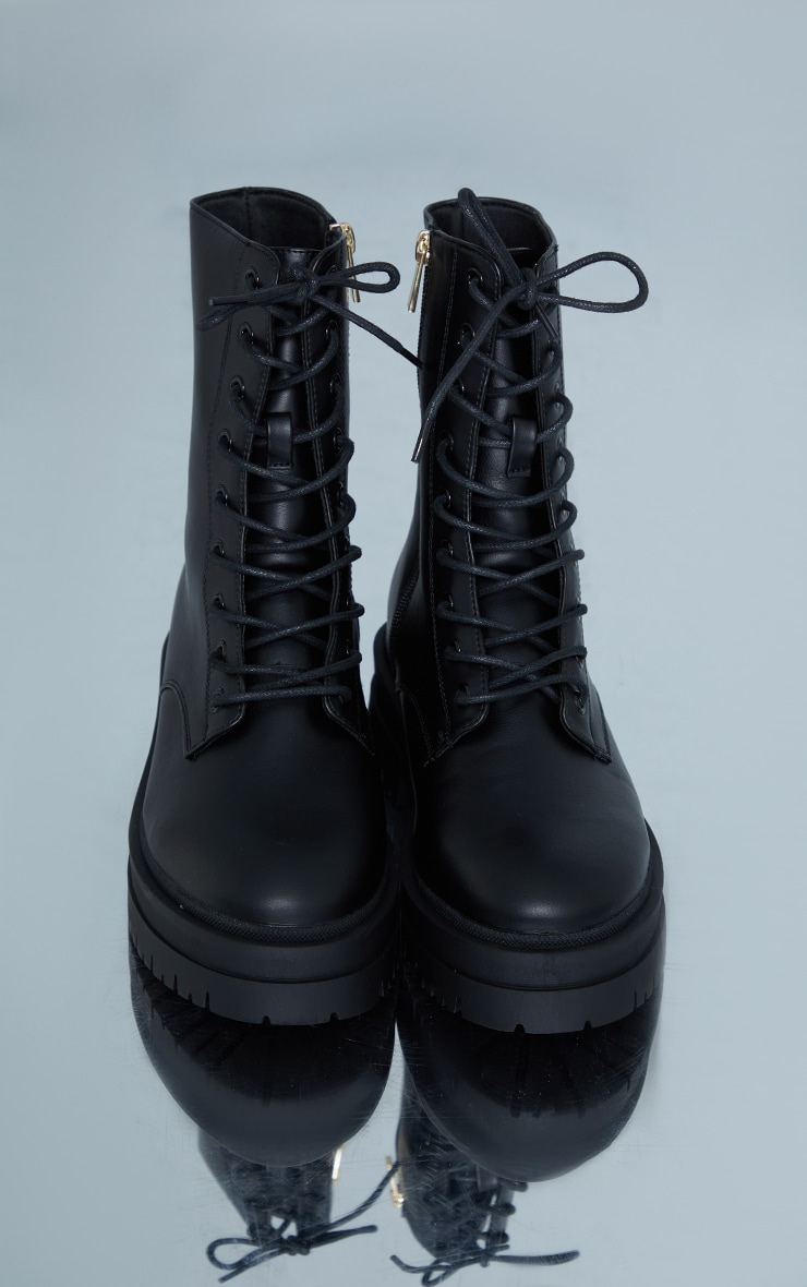 Black Lace Up Chunky Ankle Boots 3