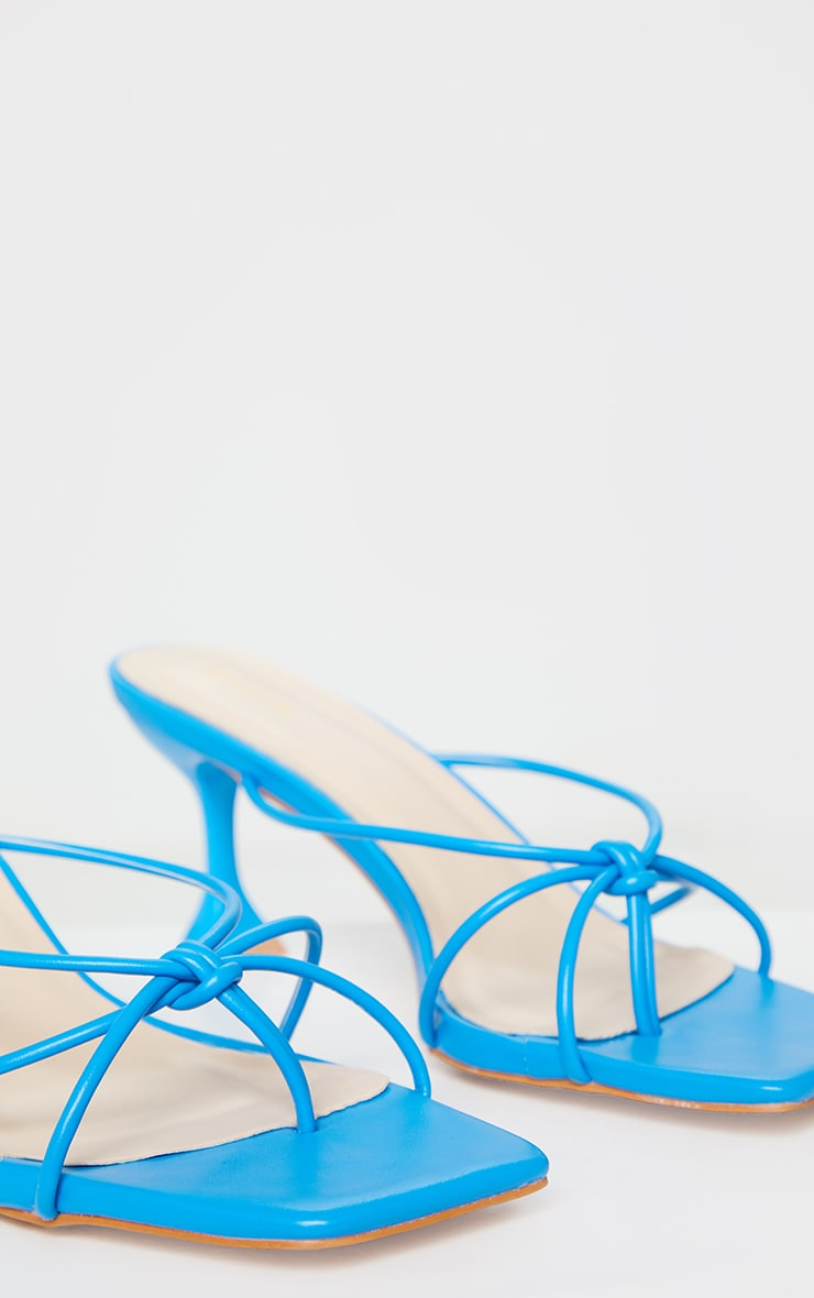 Bright Blue Knot Toe Thong Low Heel Cake Stand Mules 5
