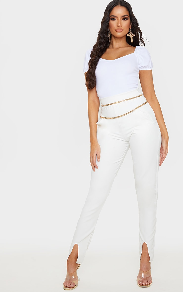 White Crepe Puff Capped Sleeve Bodysuit  5