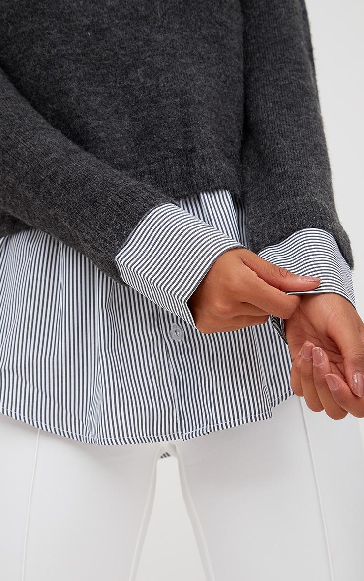 Grey Shirting Detail Jumper 5