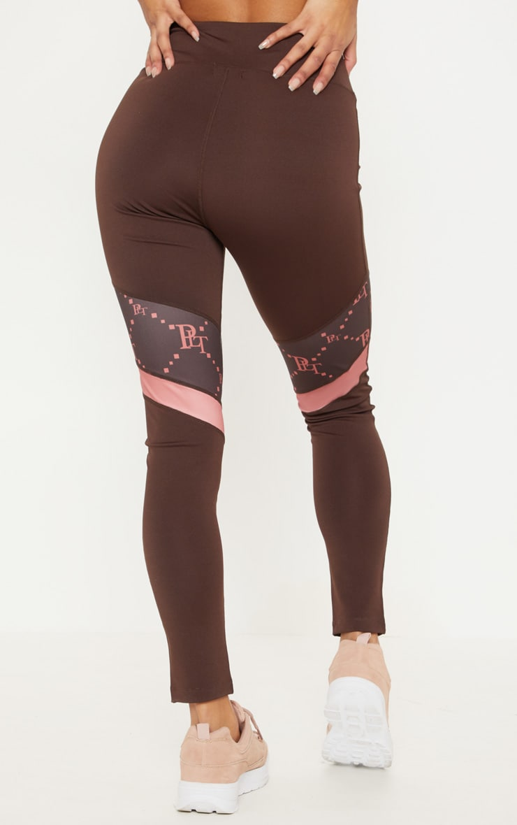 PRETTYLITTLETHING Chocolate Monogram Panelled Gym Legging 4