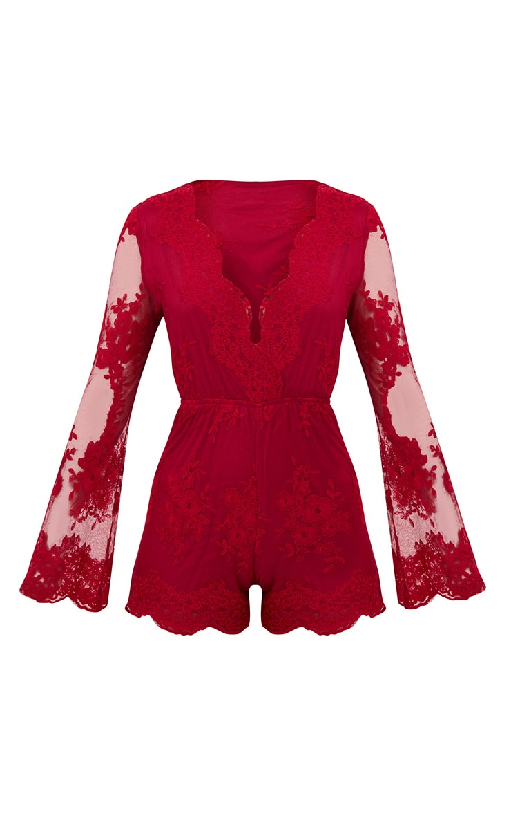 Red Lace Bell Sleeve Playsuit 3