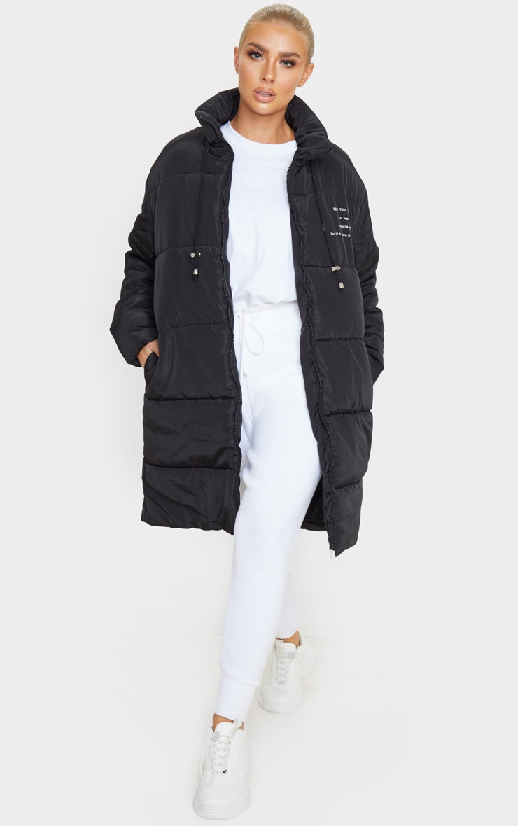 Black Slogan Midi Oversized Puffer Coat 6