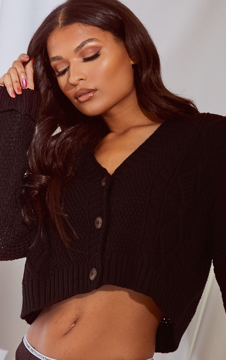 Black Cable Cropped Cardigan 4