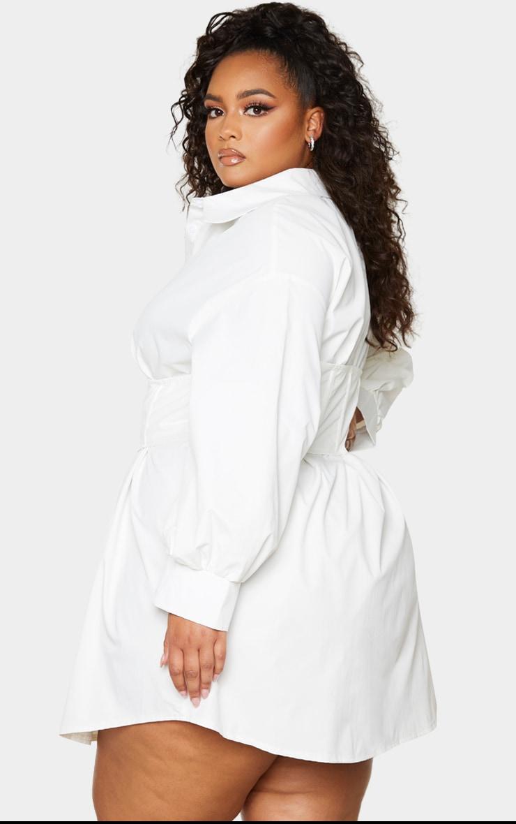 PLT Plus - Robe chemise tissée blanche à détail corset 2