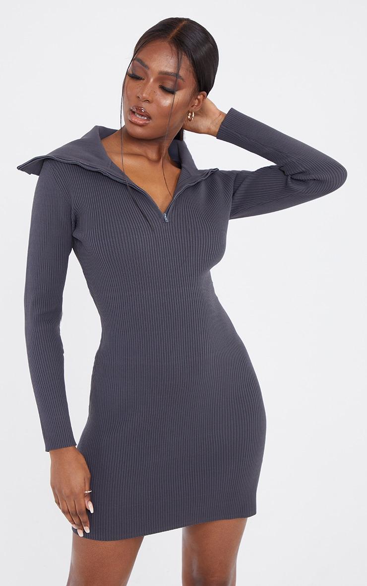 Tall Grey Half Zip Thick Rib Mini Dress 1