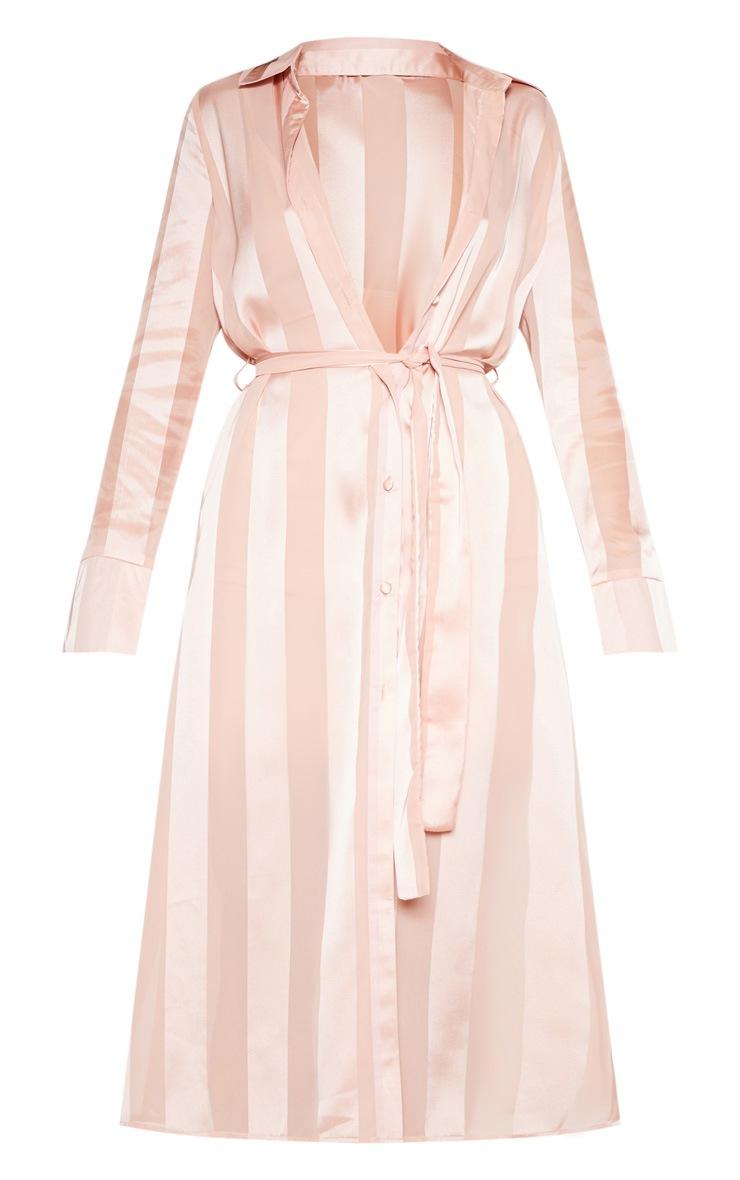 Champagne Satin Stripe Midi Shirt Dress 4