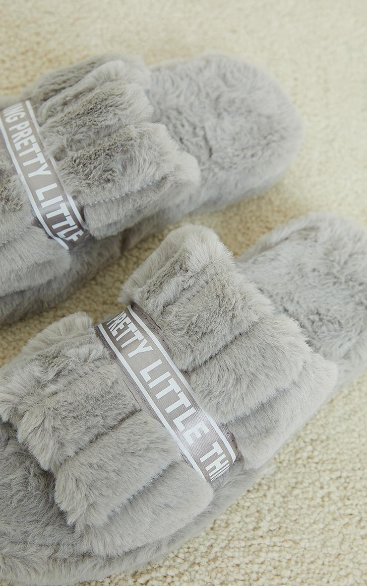 PRETTYLITTLETHING Grey Satin Logo Tape Slider Slippers 4