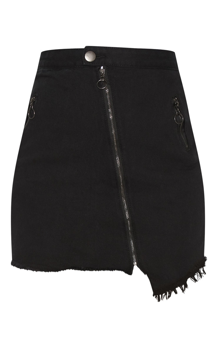 Black Zip Detail Mini Skirt 3