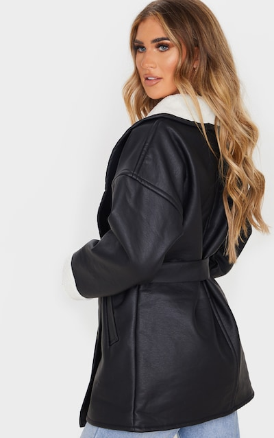 Black Aviator PU Tie Waist Long Sleeve Jacket