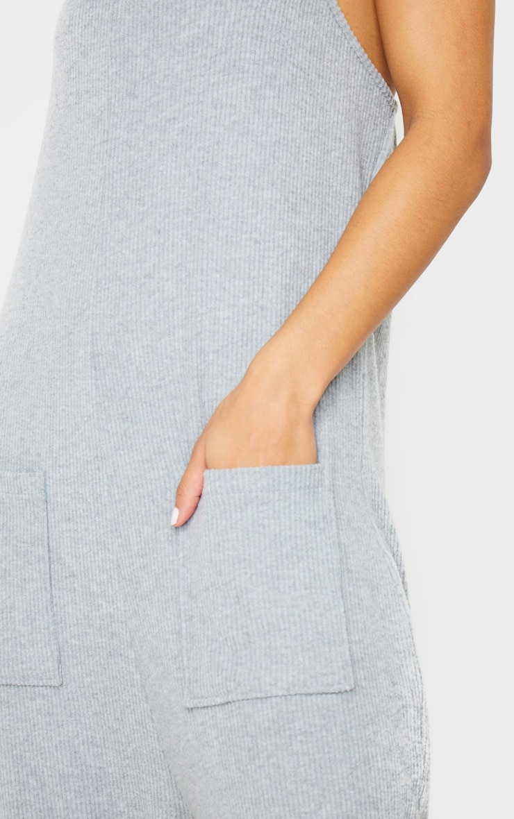 Grey Brushed Rib Strappy Pocket Jumpsuit 4