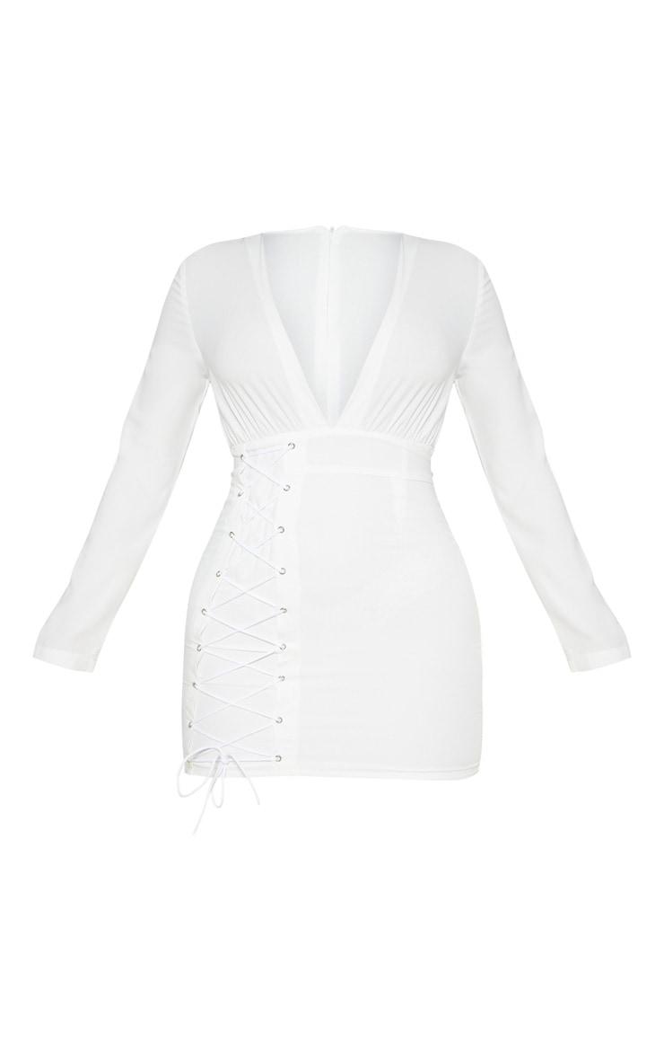 White Long Sleeve Plunge Eyelet Lace Up Bodycon Dress 3