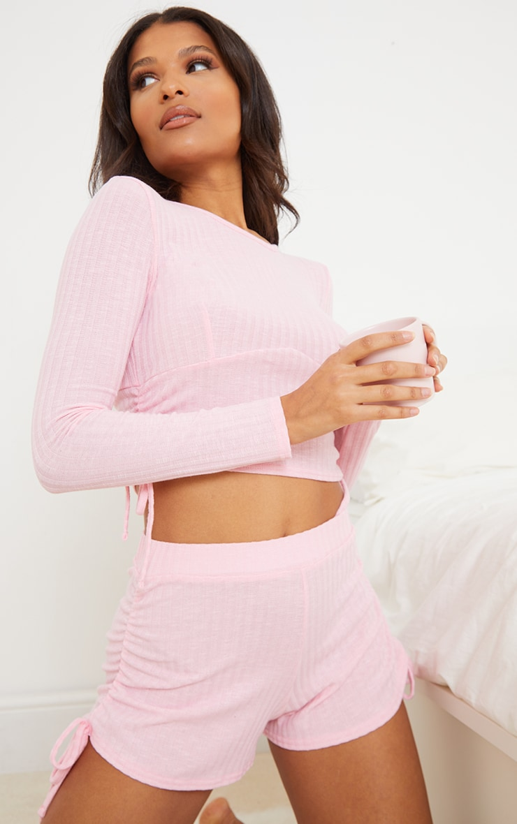 Pink Rib Ruched Side Tie Detail Top And Shorts PJ Set 1