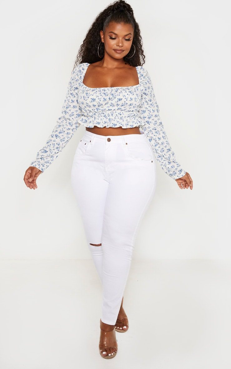 Plus White Ditsy Floral Ruched Bardot Crop Top  4