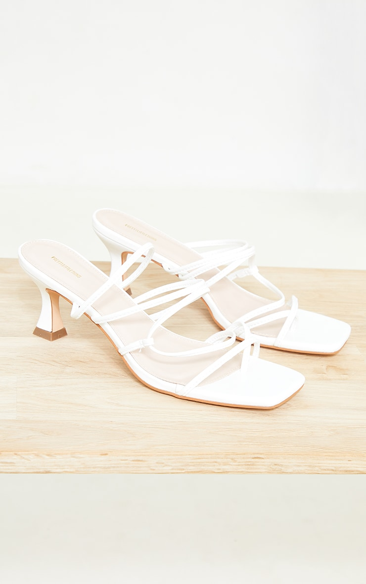 White Low Flare Heel Strappy Mules 4